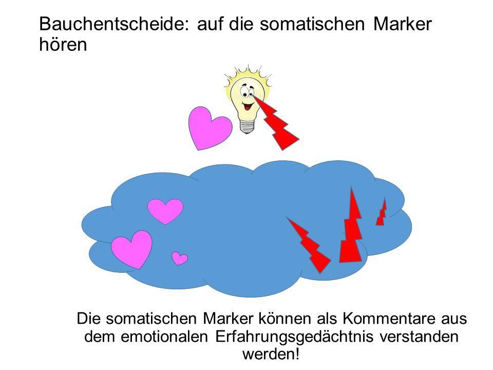 Die somatischen Marker können als Kommentare aus dem emotionalen Erfahrungsgedächtnis verstanden werden.
