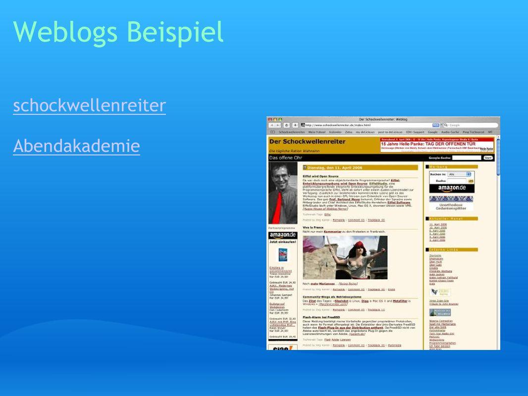 Weblogs Beispiel schockwellenreiter Abendakademie