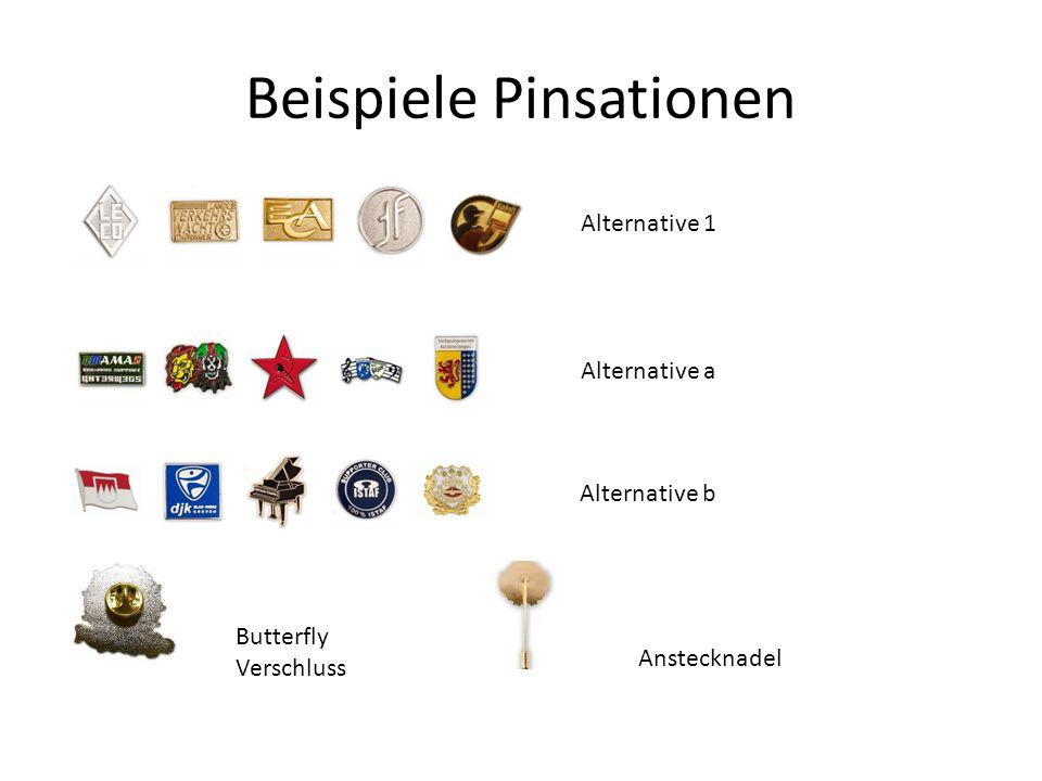 Beispiele Pinsationen Alternative 1 Alternative a Alternative b Butterfly Verschluss Anstecknadel