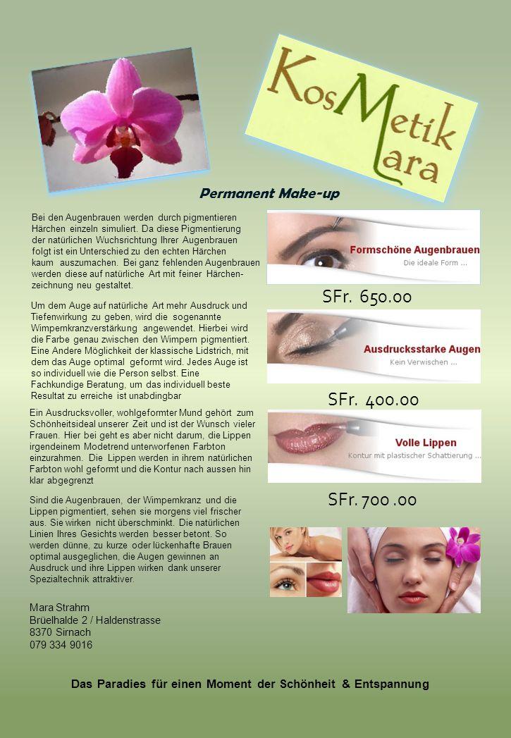 Permanent Make-up Bei den Augenbrauen werden durch pigmentieren Härchen einzeln simuliert. Da diese Pigmentierung der natürlichen Wuchsrichtung Ihrer