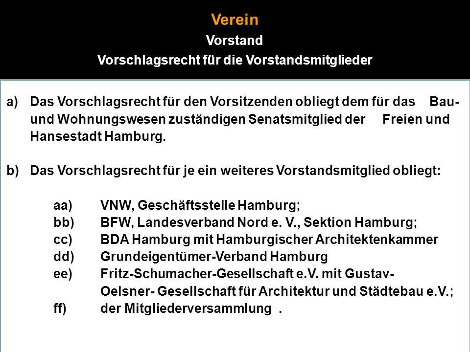 18 Verein Vorstand Vorschlagsrecht für die Vorstandsmitglieder a)Das Vorschlagsrecht für den Vorsitzenden obliegt dem für das Bau- und Wohnungswesen zuständigen Senatsmitglied der Freien und Hansestadt Hamburg.