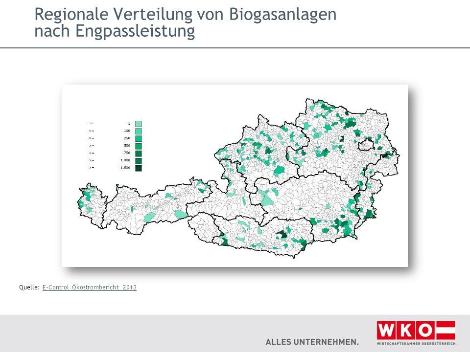 Regionale Verteilung von Biogasanlagen nach Engpassleistung Quelle: E-Control Ökostrombericht 2013E-Control Ökostrombericht 2013