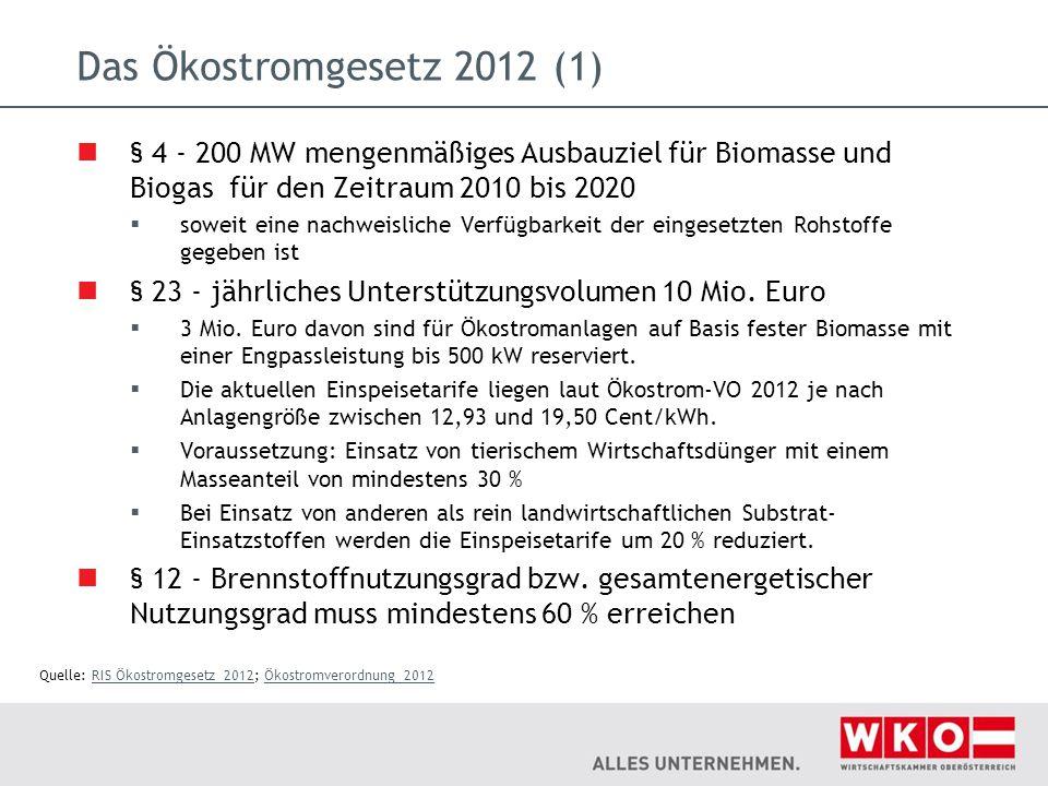 Das Ökostromgesetz 2012 (1) § 4 - 200 MW mengenmäßiges Ausbauziel für Biomasse und Biogas für den Zeitraum 2010 bis 2020  soweit eine nachweisliche V