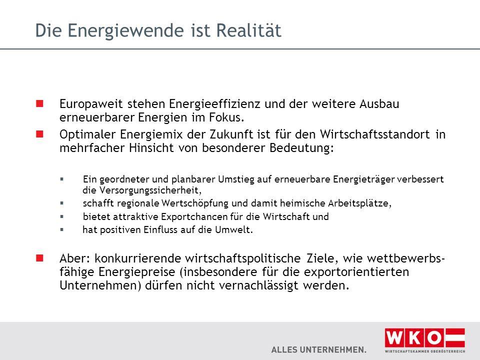Die Energiewende ist Realität Europaweit stehen Energieeffizienz und der weitere Ausbau erneuerbarer Energien im Fokus. Optimaler Energiemix der Zukun