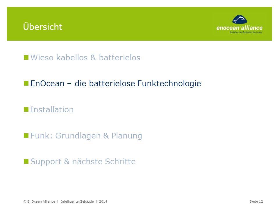 © EnOcean Alliance | Intelligente Gebäude | 2014Seite 12 Übersicht Wieso kabellos & batterielos EnOcean – die batterielose Funktechnologie Installatio