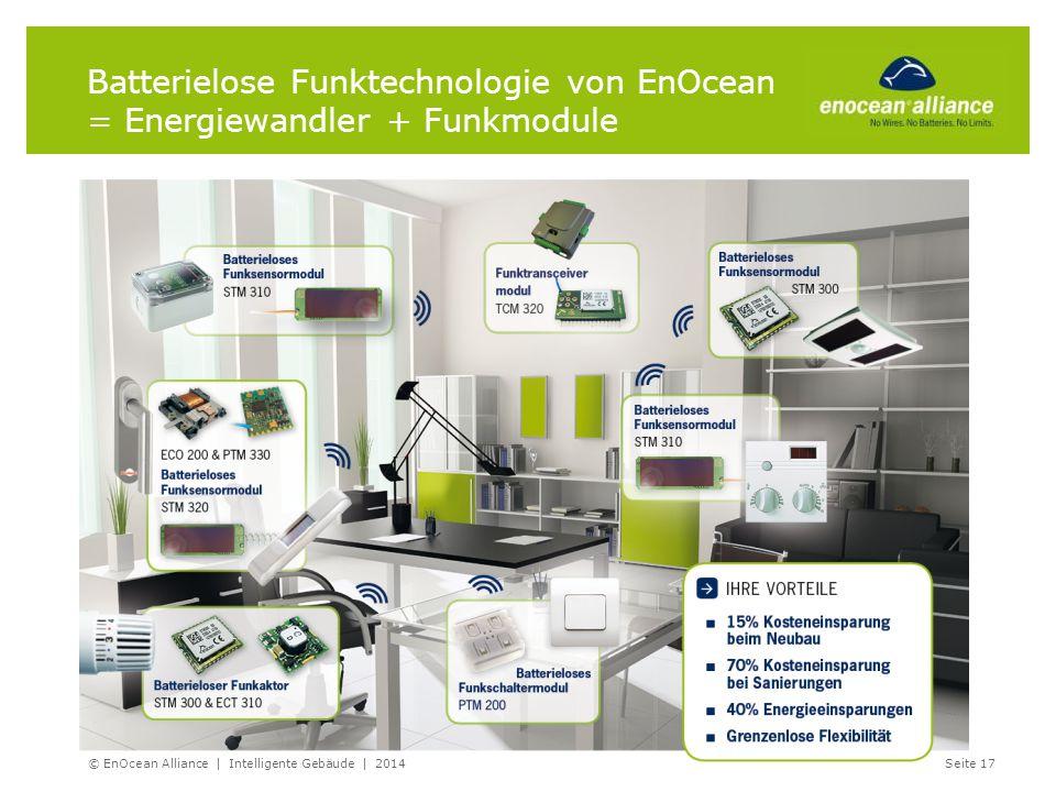 © EnOcean Alliance | Intelligente Gebäude | 2014Seite 17 Batterielose Funktechnologie von EnOcean = Energiewandler + Funkmodule