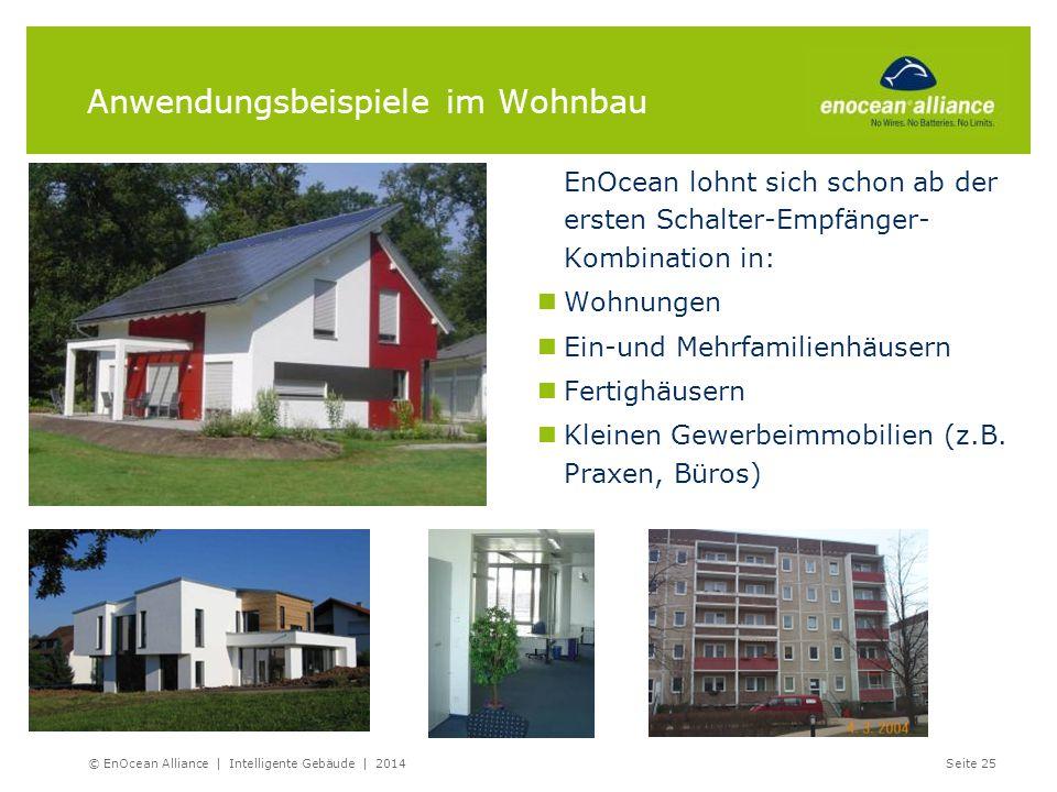 Anwendungsbeispiele im Wohnbau EnOcean lohnt sich schon ab der ersten Schalter-Empfänger- Kombination in: Wohnungen Ein-und Mehrfamilienhäusern Fertig