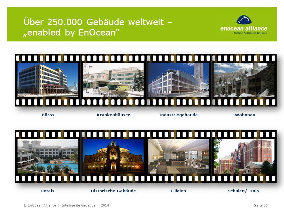 """IndustriegebäudeBürosWohnbauKrankenhäuser HotelsHistorische GebäudeSchulen/ UnisFilialen Über 250.000 Gebäude weltweit – """"enabled by EnOcean"""