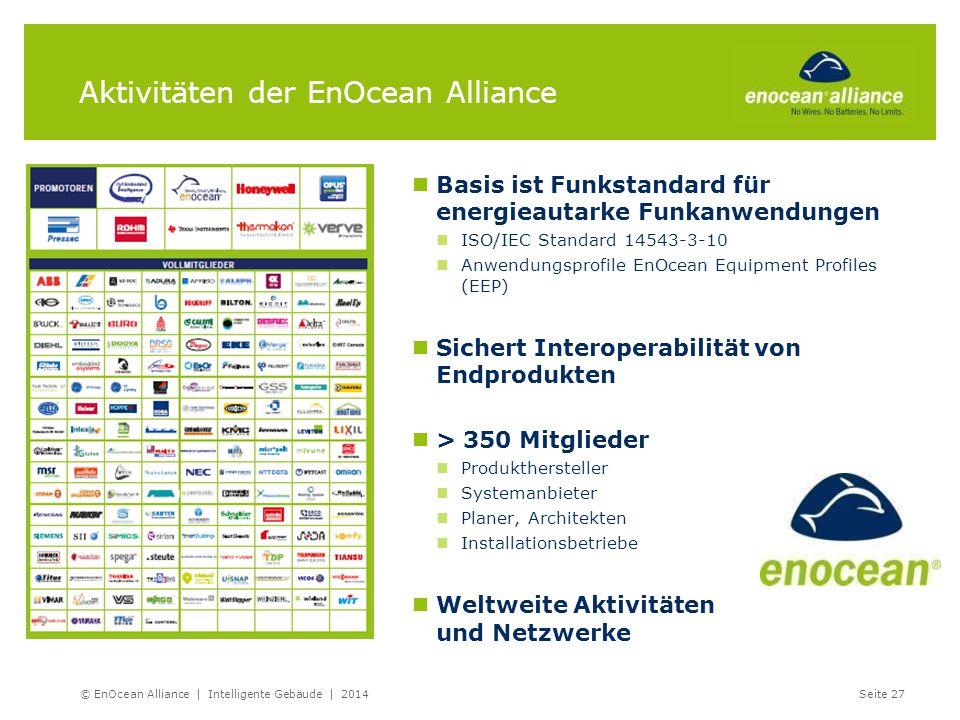 Aktivitäten der EnOcean Alliance Basis ist Funkstandard für energieautarke Funkanwendungen ISO/IEC Standard 14543-3-10 Anwendungsprofile EnOcean Equip