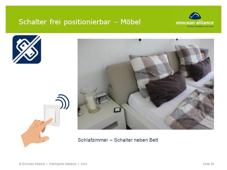 Schalter frei positionierbar – Möbel Schlafzimmer – Schalter neben Bett © EnOcean Alliance | Intelligente Gebäude | 2014Seite 35