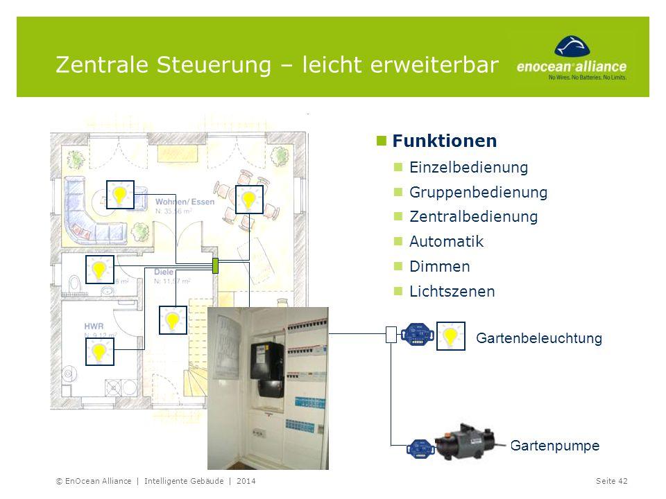Zentrale Steuerung – leicht erweiterbar © EnOcean Alliance | Intelligente Gebäude | 2014Seite 42 Funktionen Einzelbedienung Gruppenbedienung Zentralbe