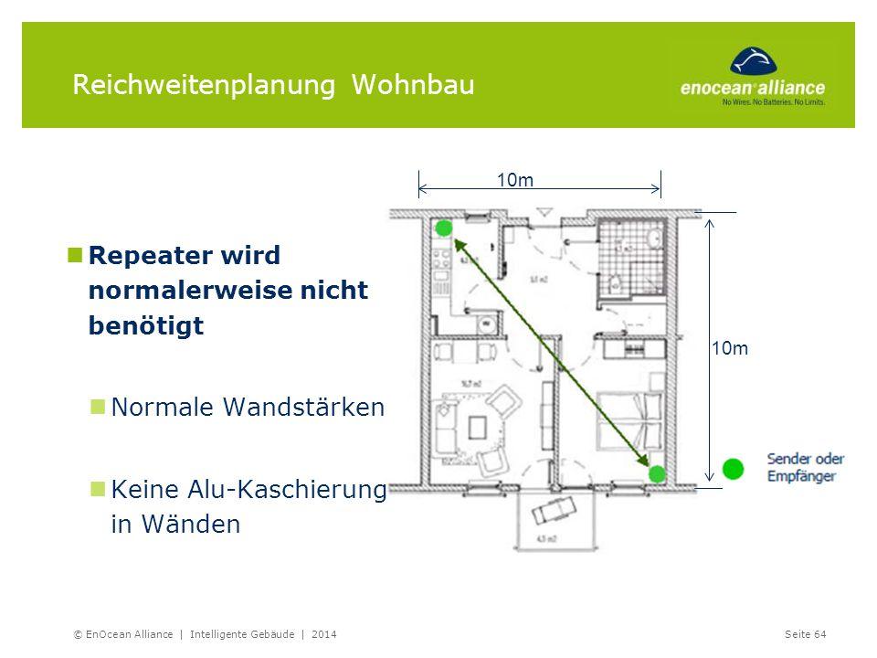 Reichweitenplanung Wohnbau Repeater wird normalerweise nicht benötigt Normale Wandstärken Keine Alu-Kaschierung in Wänden © EnOcean Alliance | Intelli