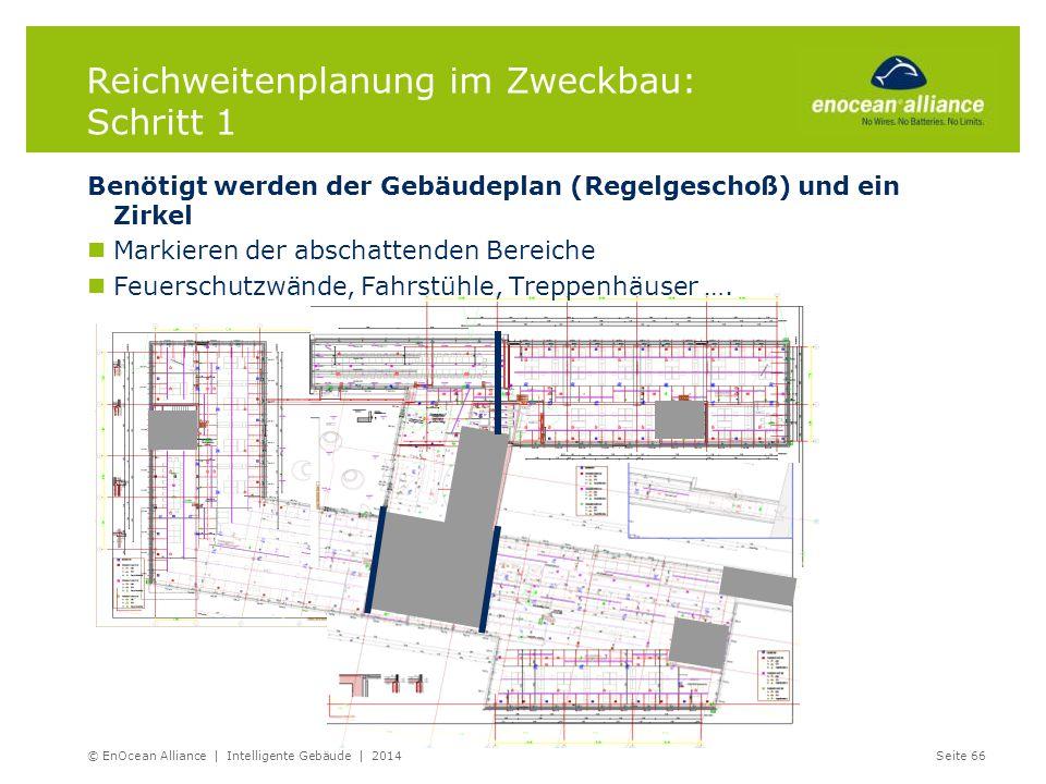 Reichweitenplanung im Zweckbau: Schritt 1 Benötigt werden der Gebäudeplan (Regelgeschoß) und ein Zirkel Markieren der abschattenden Bereiche Feuerschu