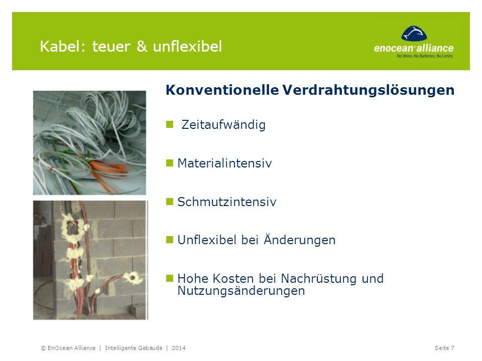 Kabel: teuer & unflexibel © EnOcean Alliance | Intelligente Gebäude | 2014 Seite 7 Konventionelle Verdrahtungslösungen Zeitaufwändig Materialintensiv