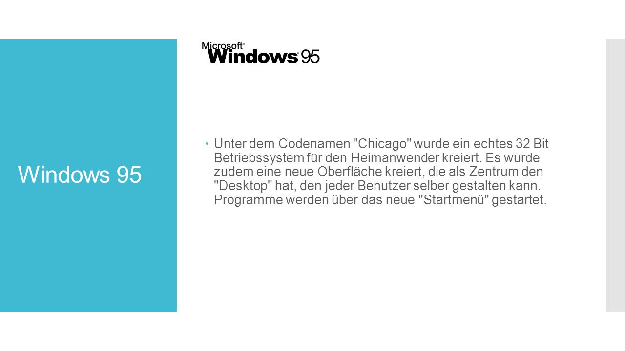Windows 95  Unter dem Codenamen