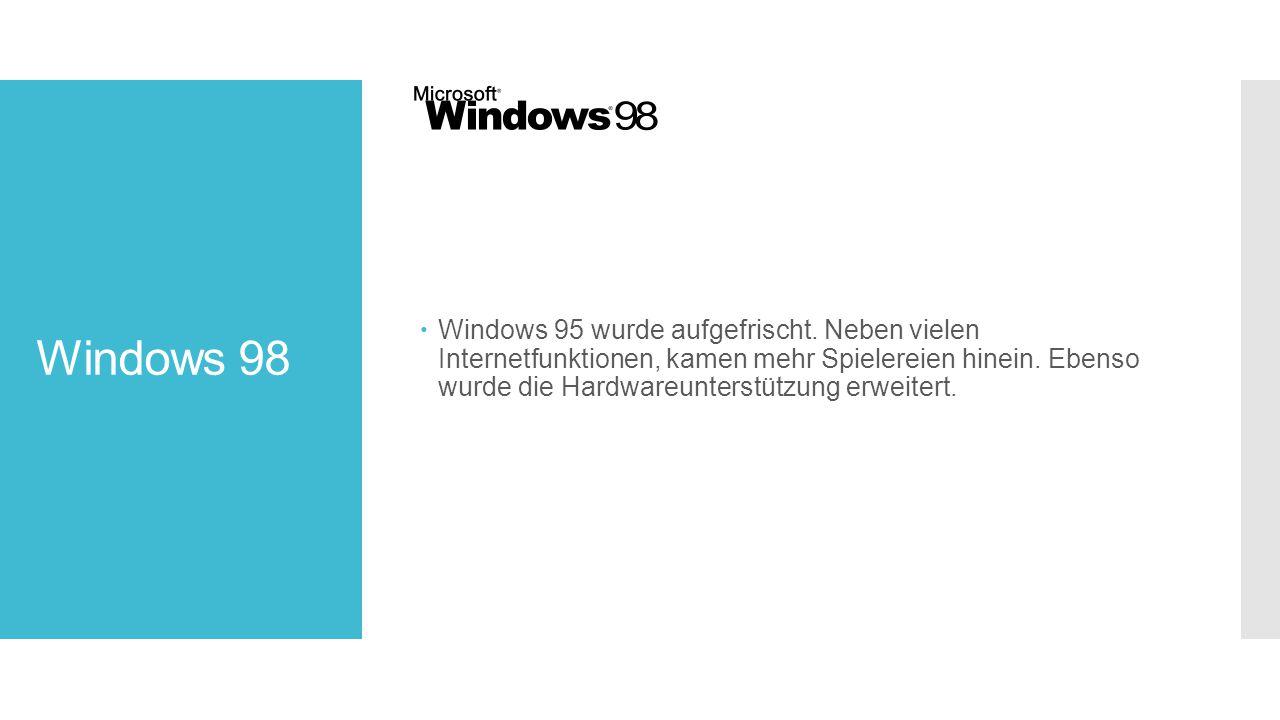 Windows 98  Windows 95 wurde aufgefrischt.