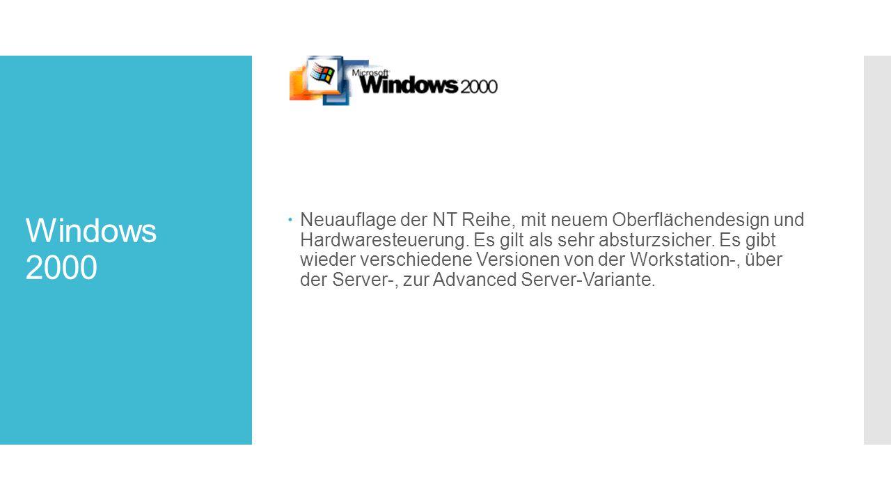 Windows 2000  Neuauflage der NT Reihe, mit neuem Oberflächendesign und Hardwaresteuerung.