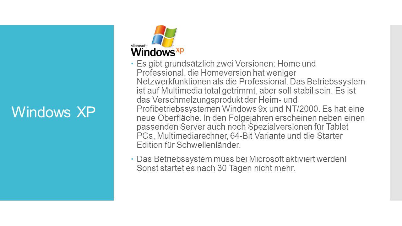 Windows XP  Es gibt grundsätzlich zwei Versionen: Home und Professional, die Homeversion hat weniger Netzwerkfunktionen als die Professional.
