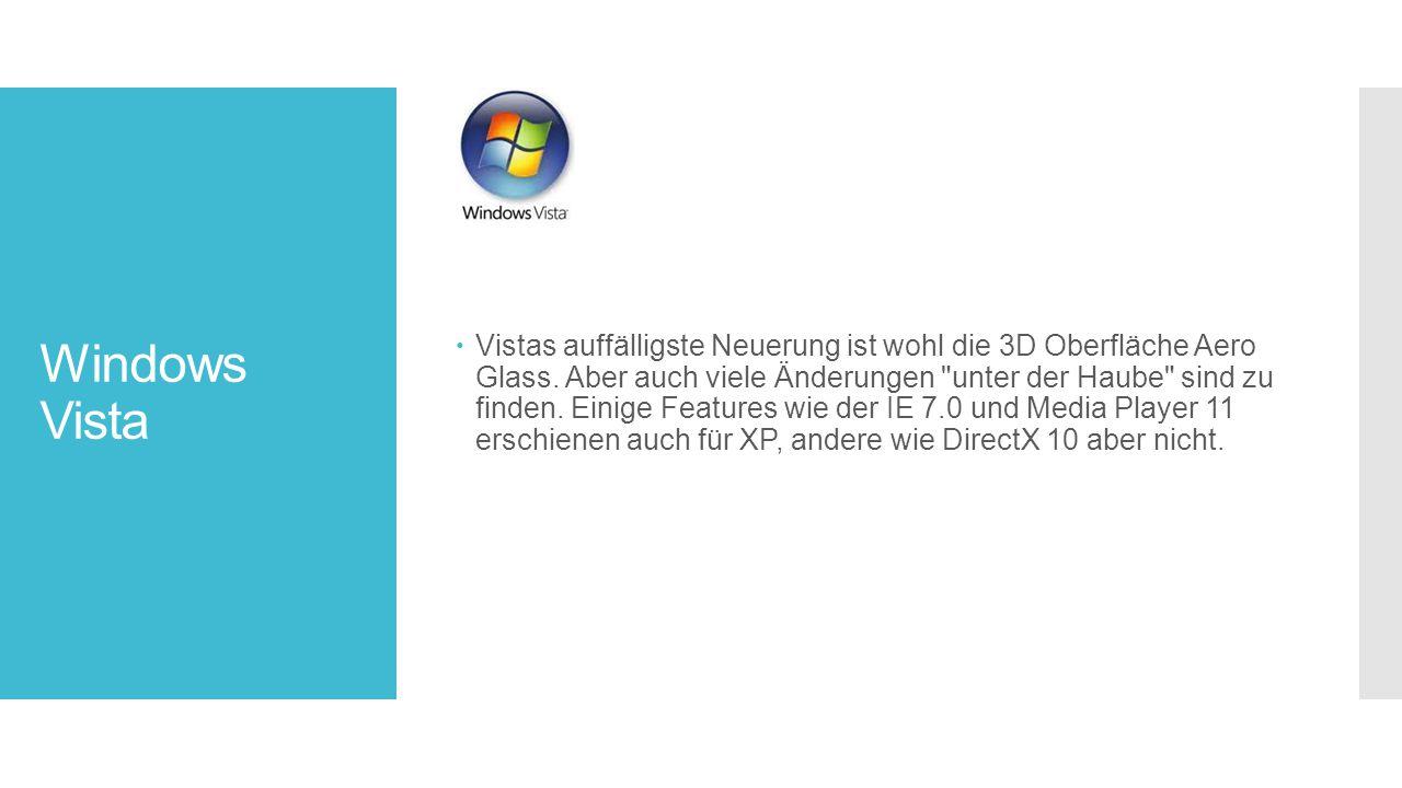 Windows Vista  Vistas auffälligste Neuerung ist wohl die 3D Oberfläche Aero Glass.