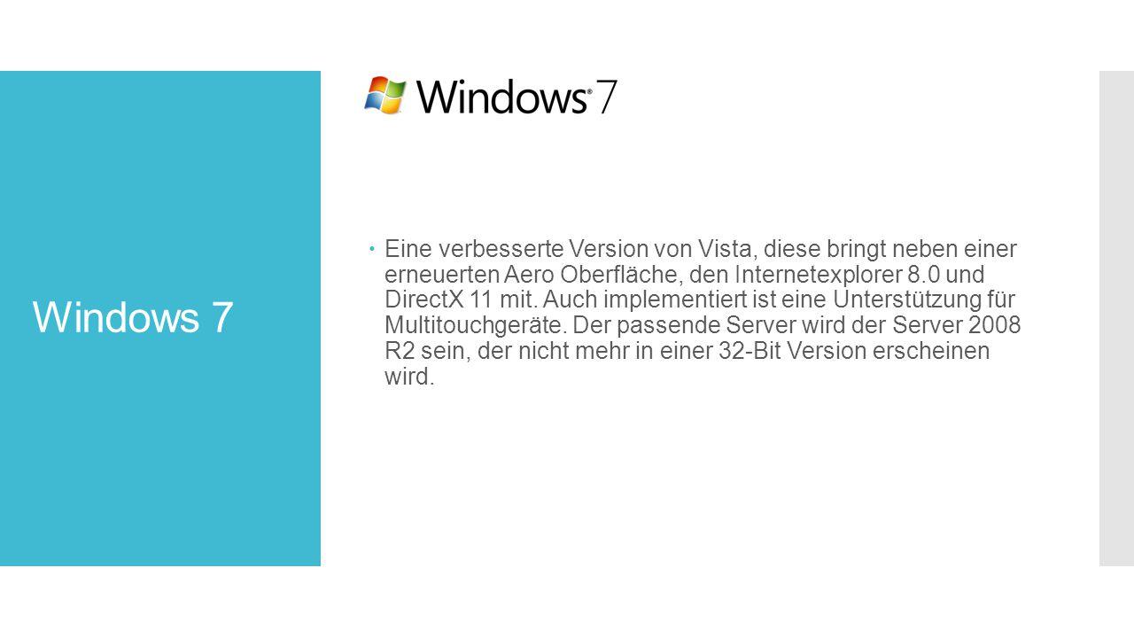 Windows 7  Eine verbesserte Version von Vista, diese bringt neben einer erneuerten Aero Oberfläche, den Internetexplorer 8.0 und DirectX 11 mit.