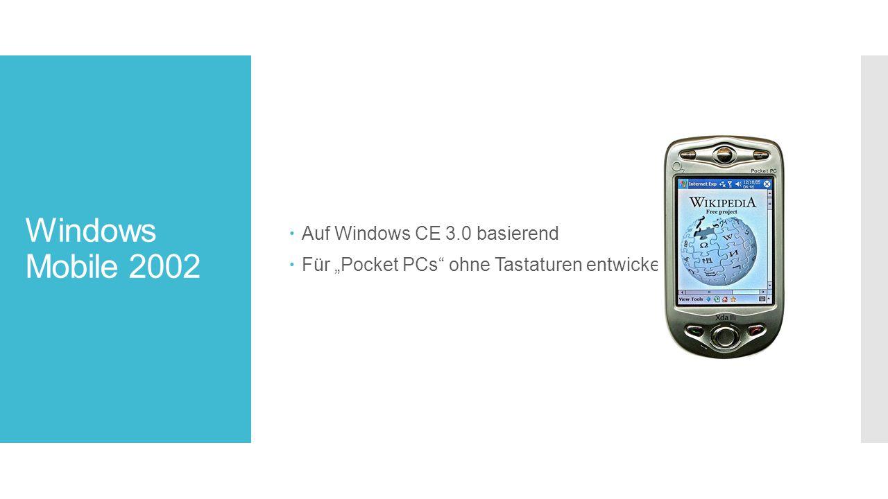 """Windows Mobile 2002  Auf Windows CE 3.0 basierend  Für """"Pocket PCs ohne Tastaturen entwickelt"""