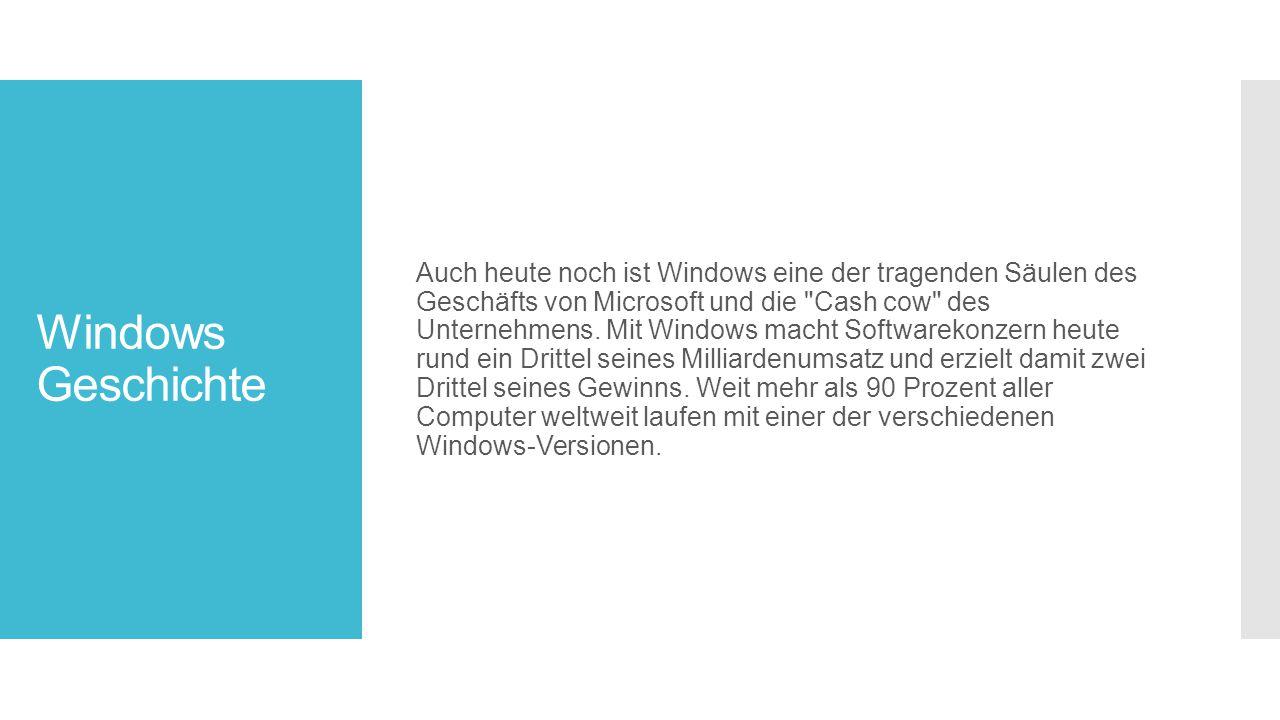 Windows Geschichte Auch heute noch ist Windows eine der tragenden Säulen des Geschäfts von Microsoft und die Cash cow des Unternehmens.