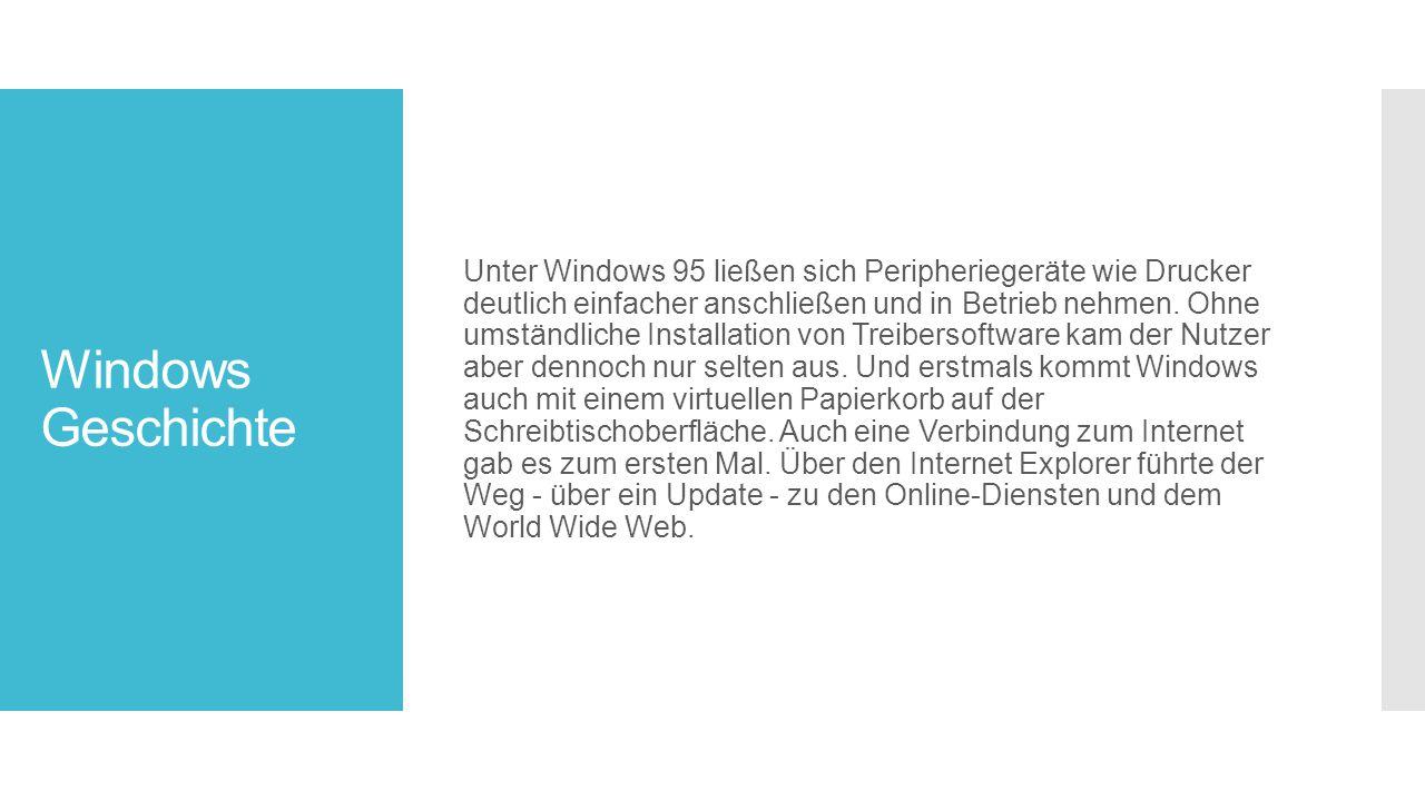 Windows Geschichte Unter Windows 95 ließen sich Peripheriegeräte wie Drucker deutlich einfacher anschließen und in Betrieb nehmen.