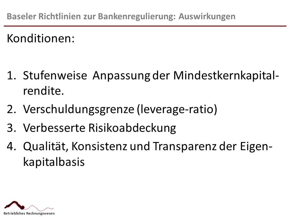 Betriebliches Rechnungswesen Baseler Richtlinien zur Bankenregulierung: Auswirkungen Konditionen: 1.Stufenweise Anpassung der Mindestkernkapital- rend