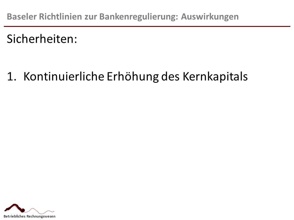 Betriebliches Rechnungswesen Baseler Richtlinien zur Bankenregulierung: Auswirkungen Sicherheiten: 1.Kontinuierliche Erhöhung des Kernkapitals