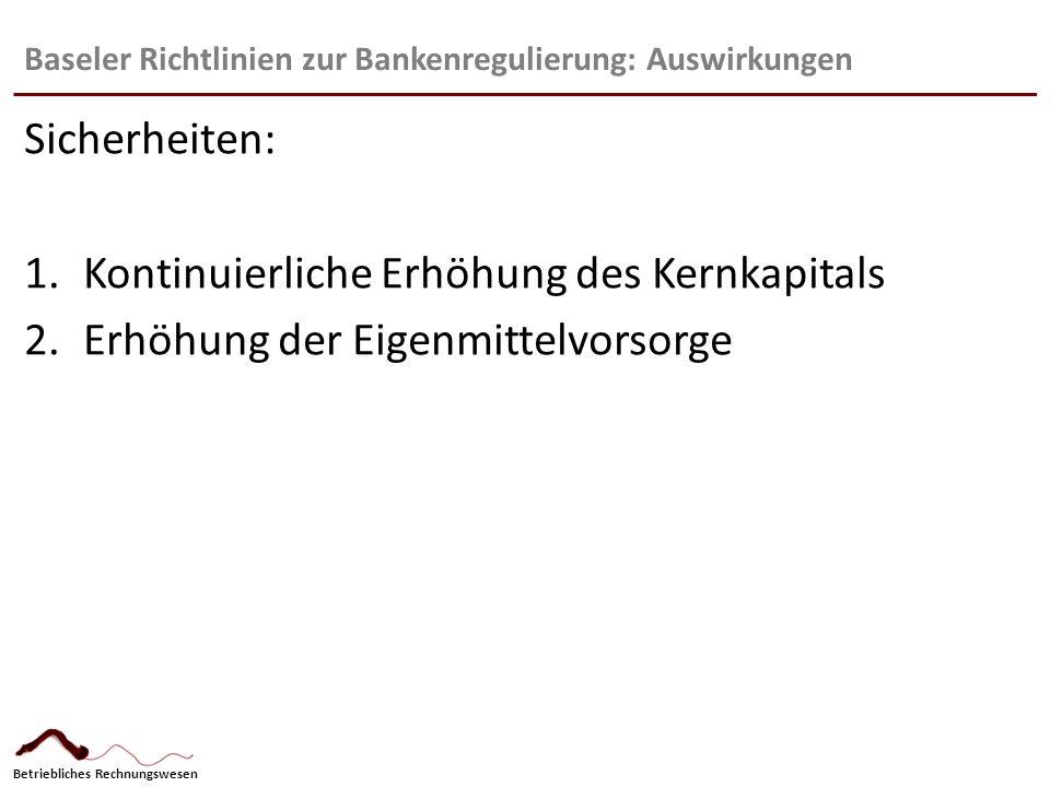 Betriebliches Rechnungswesen Baseler Richtlinien zur Bankenregulierung: Auswirkungen Sicherheiten: 1.Kontinuierliche Erhöhung des Kernkapitals 2.Erhöh