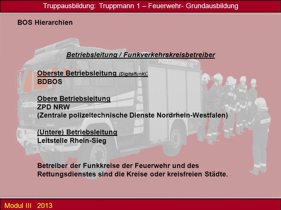 Truppausbildung: Truppmann 1 – Feuerwehr- Grundausbildung Modul III 2013 BOS Hierarchien Betriebsleitung / Funkverkehrskreisbetreiber Oberste Betriebs