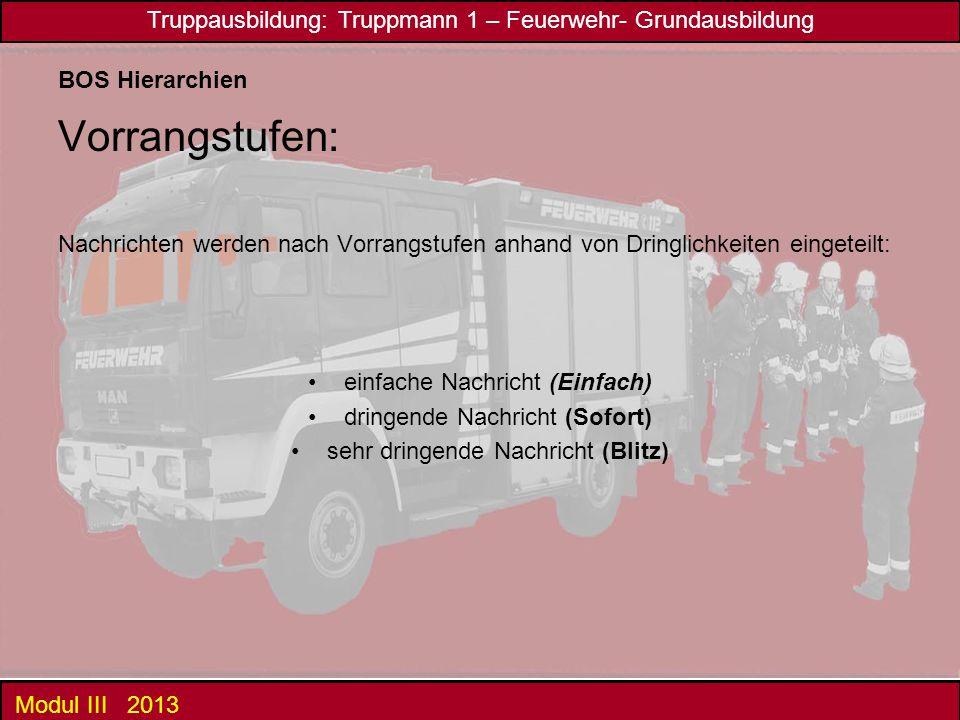 Truppausbildung: Truppmann 1 – Feuerwehr- Grundausbildung Modul III 2013 BOS Hierarchien Vorrangstufen: Nachrichten werden nach Vorrangstufen anhand v