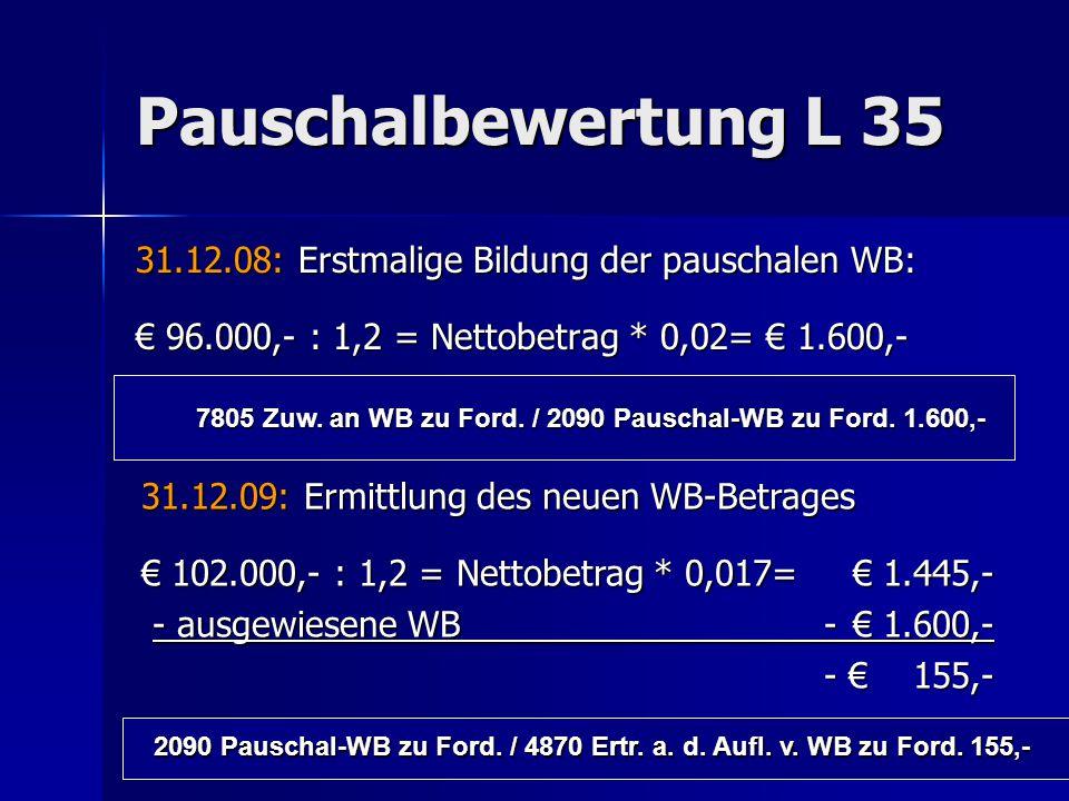 Pauschalbewertung L 35 31.12.08: Erstmalige Bildung der pauschalen WB: € 96.000,- : 1,2 = Nettobetrag * 0,02= € 1.600,- 7805 Zuw. an WB zu Ford. / 209