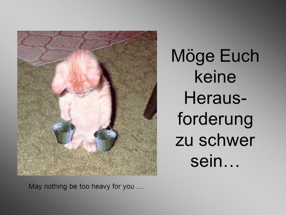 Möge Euch keine Heraus- forderung zu schwer sein… May nothing be too heavy for you....