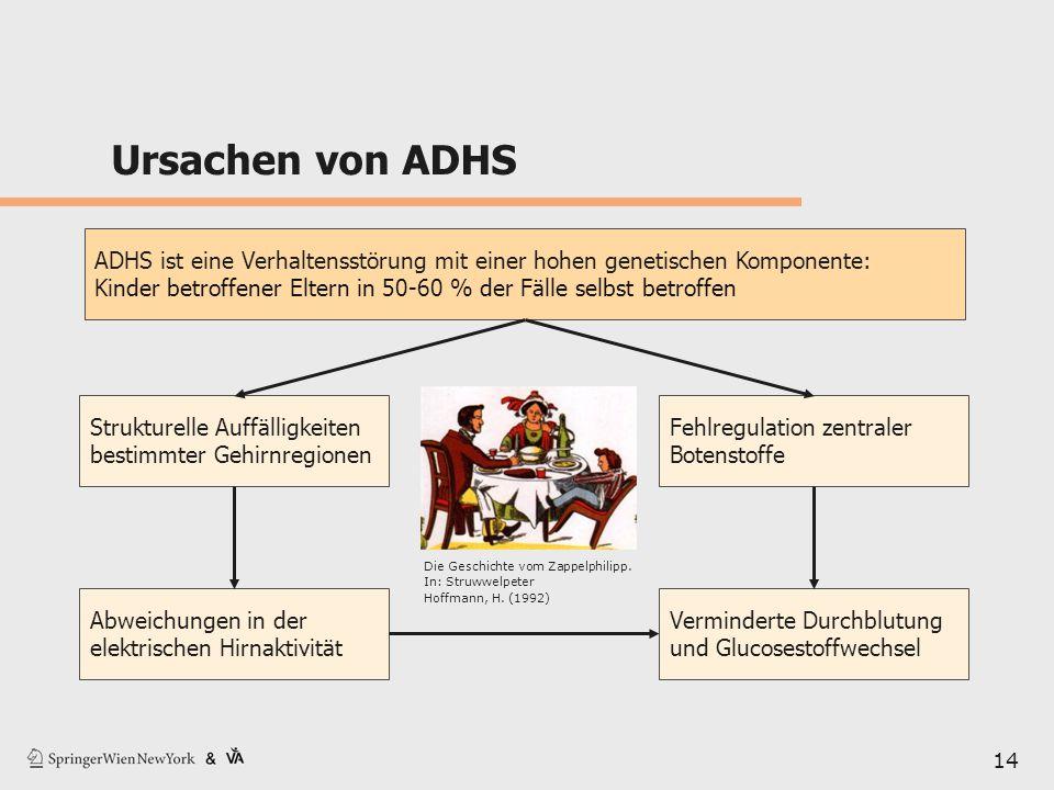 Ursachen von ADHS 14 ADHS ist eine Verhaltensstörung mit einer hohen genetischen Komponente: Kinder betroffener Eltern in 50-60 % der Fälle selbst bet