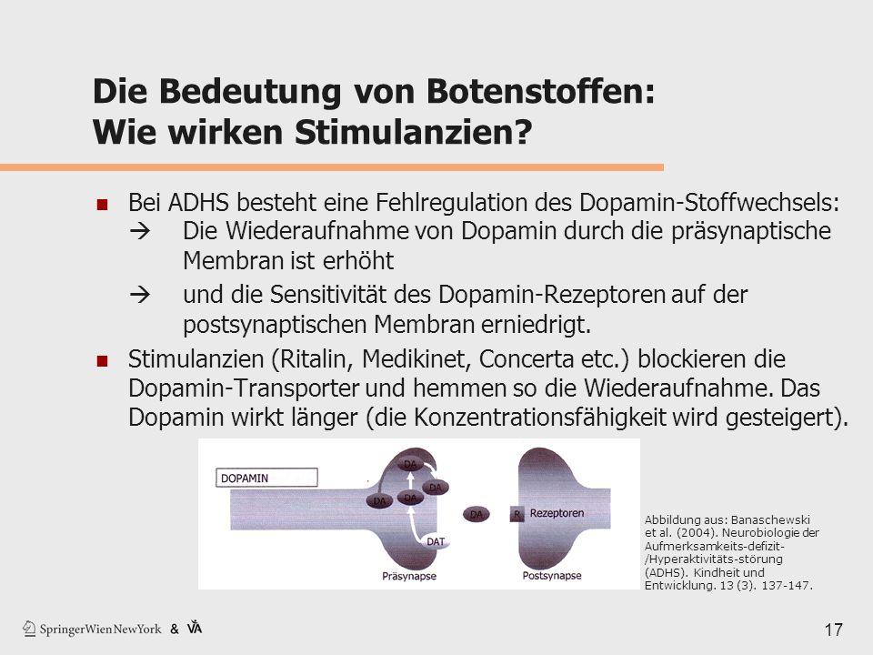 Die Bedeutung von Botenstoffen: Wie wirken Stimulanzien? Bei ADHS besteht eine Fehlregulation des Dopamin-Stoffwechsels:  Die Wiederaufnahme von Dopa