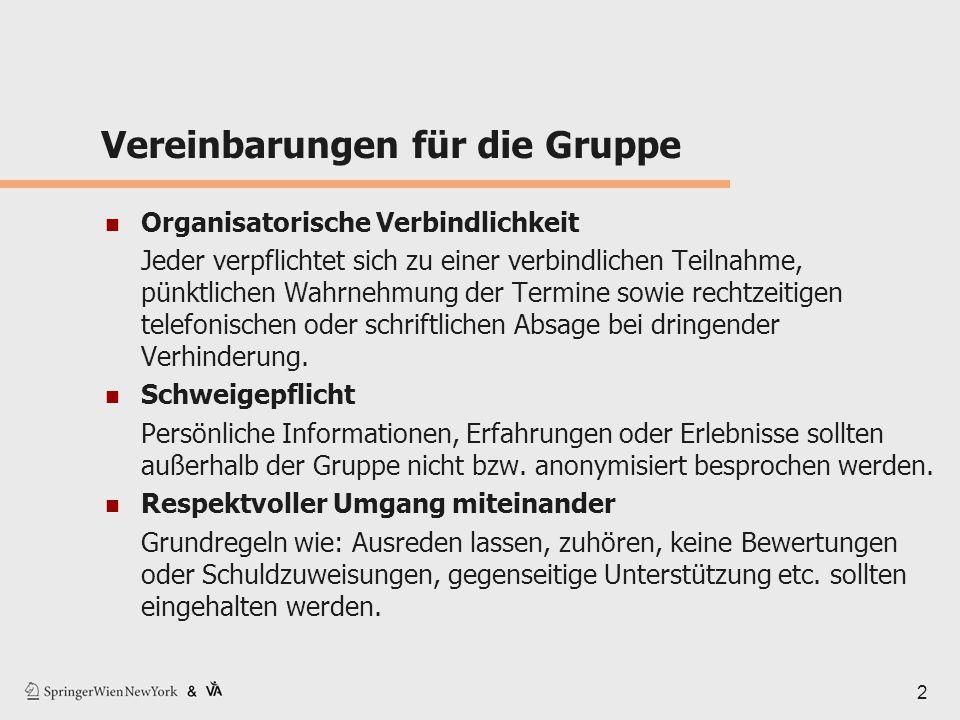 2 Vereinbarungen für die Gruppe Organisatorische Verbindlichkeit Jeder verpflichtet sich zu einer verbindlichen Teilnahme, pünktlichen Wahrnehmung der