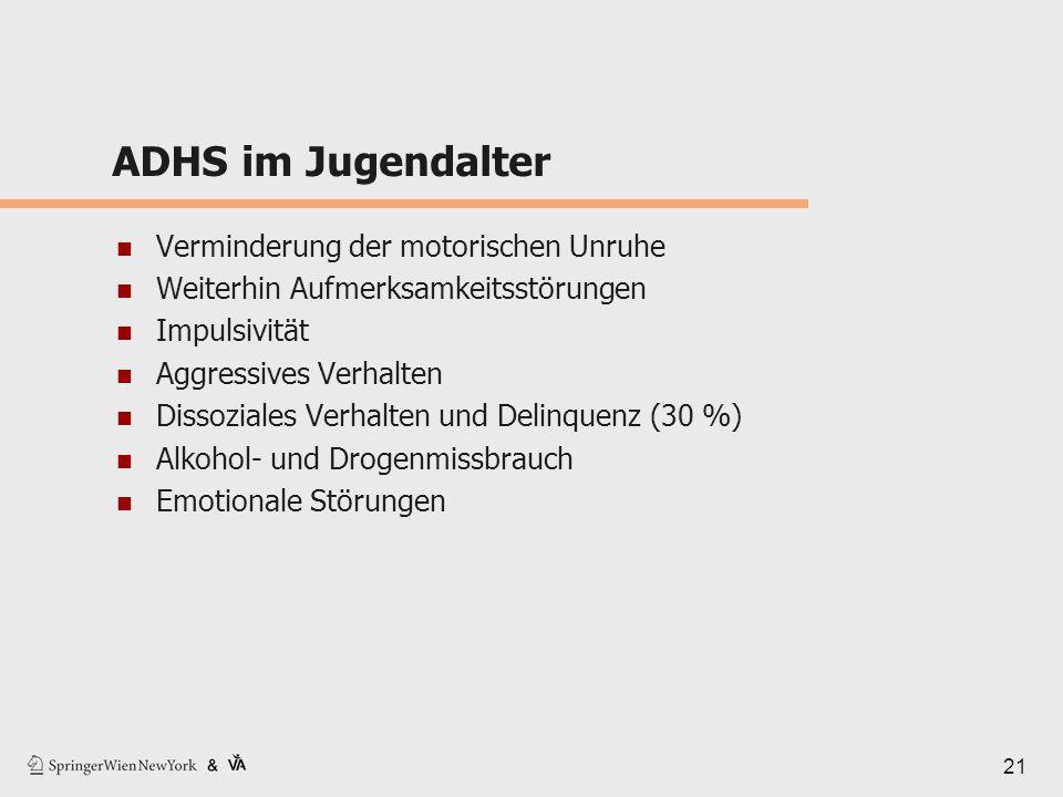 ADHS im Jugendalter Verminderung der motorischen Unruhe Weiterhin Aufmerksamkeitsstörungen Impulsivität Aggressives Verhalten Dissoziales Verhalten un