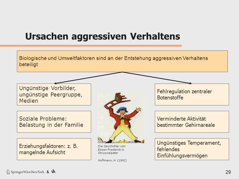 Ursachen aggressiven Verhaltens 29 Biologische und Umweltfaktoren sind an der Entstehung aggressiven Verhaltens beteiligt Ungünstige Vorbilder, ungüns