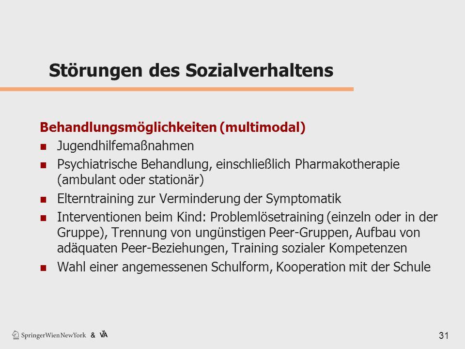 31 Störungen des Sozialverhaltens Behandlungsmöglichkeiten (multimodal) Jugendhilfemaßnahmen Psychiatrische Behandlung, einschließlich Pharmakotherapi