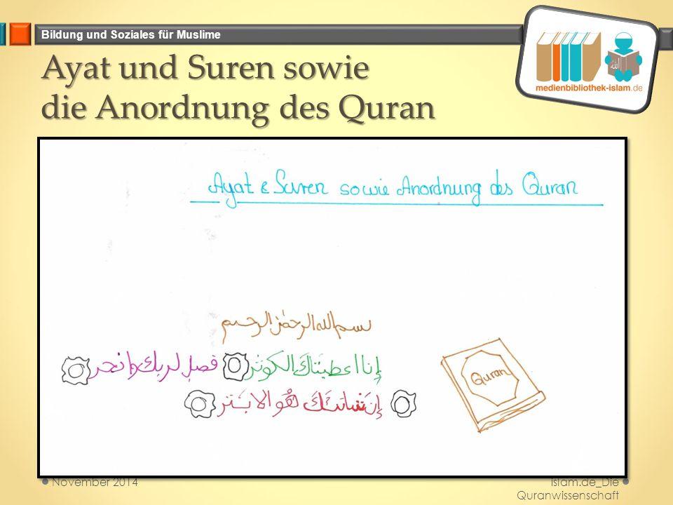 Bildung und Soziales für Muslime Ayat und Suren sowie die Anordnung des Quran Medienbibliothek- islam.de_Die Quranwissenschaft November 2014