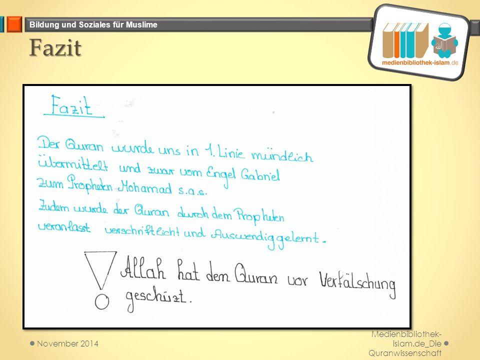Bildung und Soziales für Muslime Fazit Medienbibliothek- islam.de_Die Quranwissenschaft November 2014