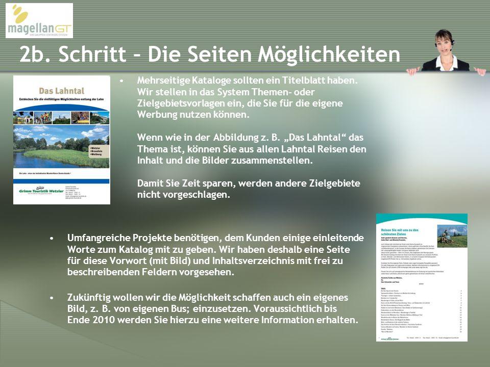 2b.Schritt – Die Seiten Möglichkeiten Mehrseitige Kataloge sollten ein Titelblatt haben.