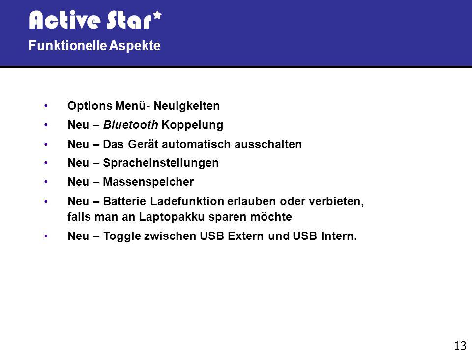 12 Active Star* Funktionelle Aspekte Kurzer Überblick des internen Menüs Direkter Transfer einer ausgewählten Datei – während Ihr Editor (z. B. Word,