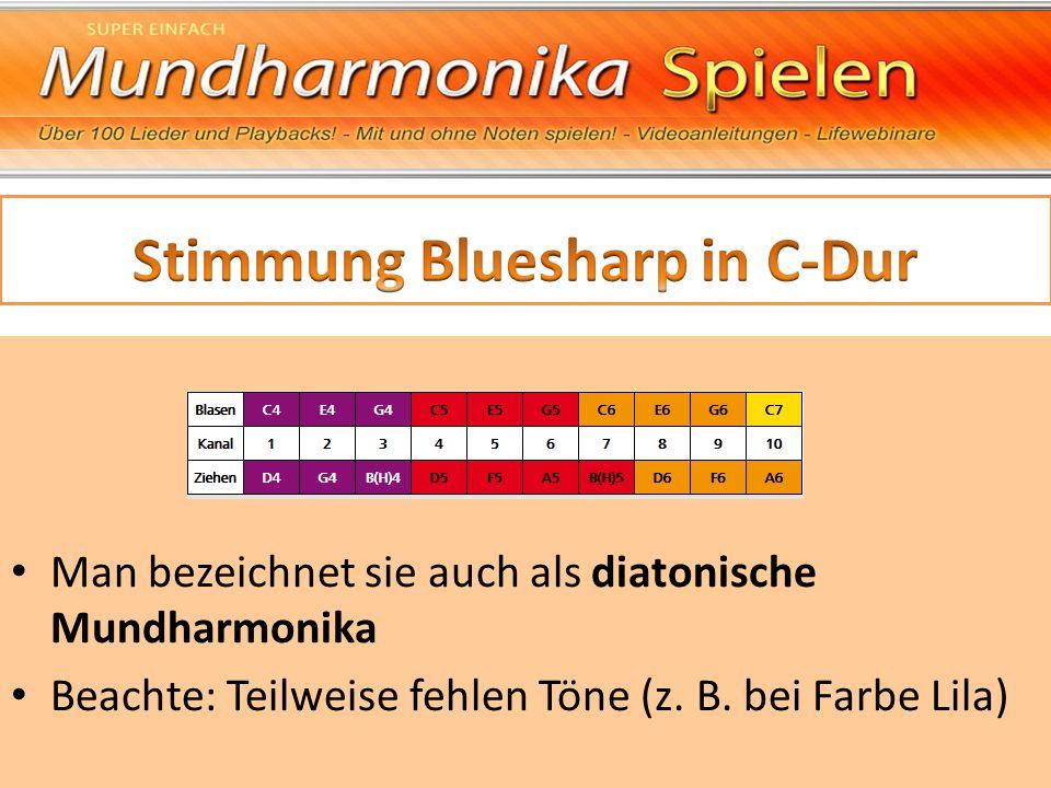 Man bezeichnet sie auch als diatonische Mundharmonika Beachte: Teilweise fehlen Töne (z. B. bei Farbe Lila)