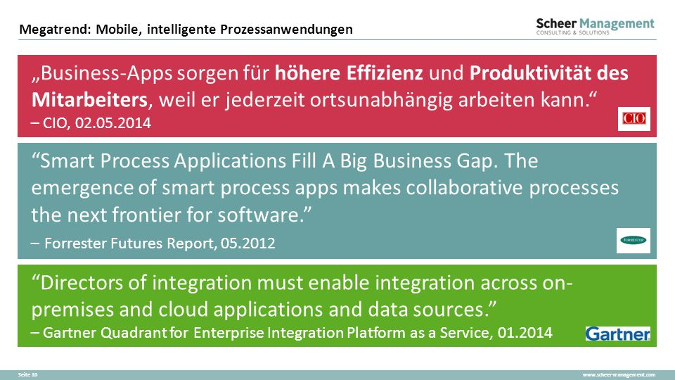 """www.scheer-management.comSeite 10 Megatrend: Mobile, intelligente Prozessanwendungen """"Business-Apps sorgen für höhere Effizienz und Produktivität des"""