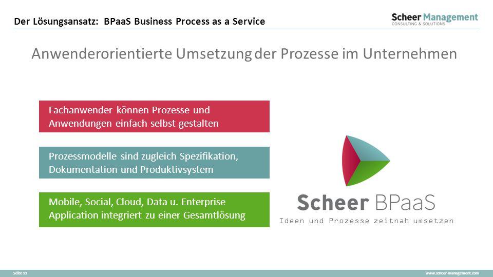 www.scheer-management.comSeite 11 Der Lösungsansatz: BPaaS Business Process as a Service Anwenderorientierte Umsetzung der Prozesse im Unternehmen Fac