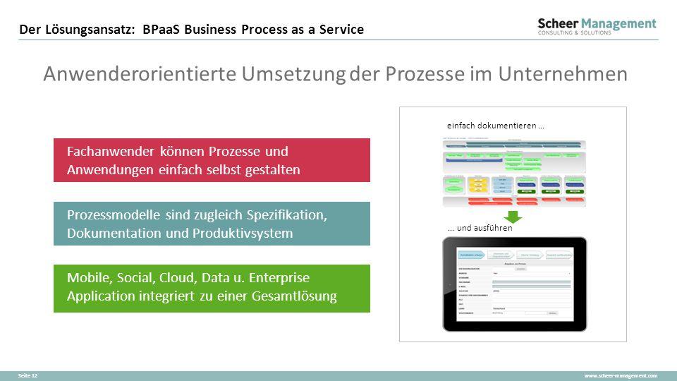 www.scheer-management.comSeite 12 Der Lösungsansatz: BPaaS Business Process as a Service Anwenderorientierte Umsetzung der Prozesse im Unternehmen ein