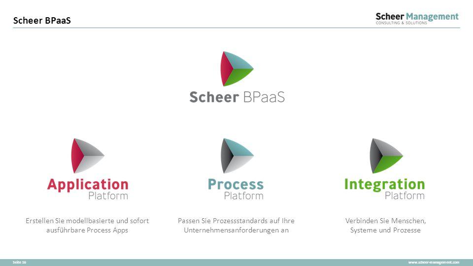 www.scheer-management.comSeite 16 Scheer BPaaS Erstellen Sie modellbasierte und sofort ausführbare Process Apps Verbinden Sie Menschen, Systeme und Pr