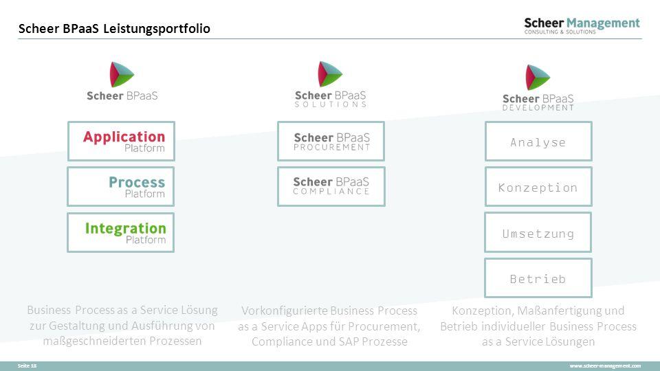 www.scheer-management.comSeite 18 Scheer BPaaS Leistungsportfolio Business Process as a Service Lösung zur Gestaltung und Ausführung von maßgeschneide